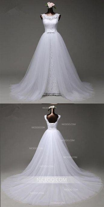 8f40966d826d74 Round Neck Sleeveless Open Back Lace Wedding Dresses Best Bride Gown   wedding  bride
