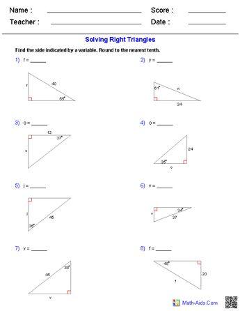 Trigonometry worksheets.