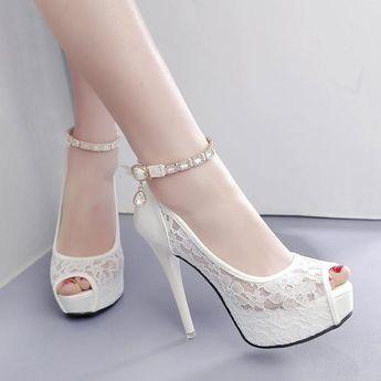 Elegant Peep Toe Thin High Heel Platform Party Pumps Sandals Shoes Verkadi.com #highheelspumps