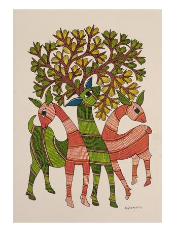 Deer Gondh Painting By Rajendra Shyam 14in x 10in