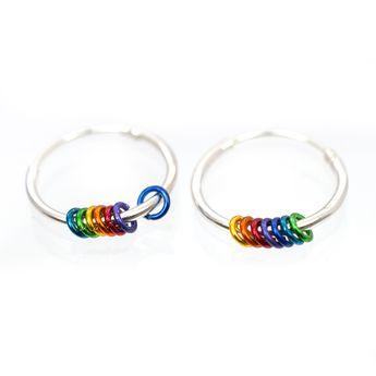 925 sterling silver hoop earrings, with rainbow colored rings- Sold in Pairs