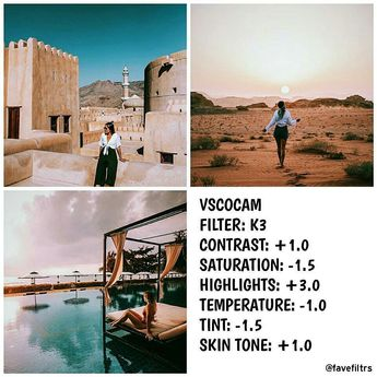 VSCO #Filters & #feed goals ♡ Contrasted #wanderlust filter Looks good with anything especially traveling photos .. Change K3 to E3 or E4 #filter if you don't want a #pink #look to your #photography #photos #diy