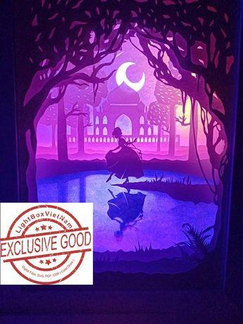 Paper Cutting Light Box Template Files Princess Lost Shoe SHADOW BOX Digital