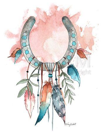 Horseshoe Dream Catcher #8 Watercolor painting, home décor, native american wall art, boho dreamcatcher, nursery décor, bohemian décor