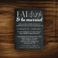 printable elopement reception invitation eat drink be mar