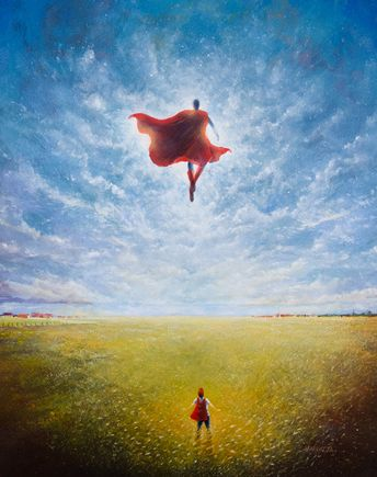 """Superman Print """"Look up in the Sky"""" by Vincent Carrozza"""