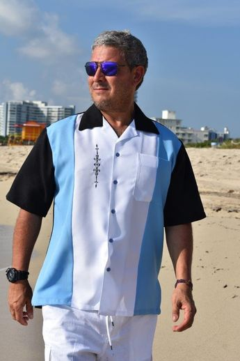 b125000eb3 Mens Cuban Retro Shirt Blue Embroidered Made in USA D Accord 5839