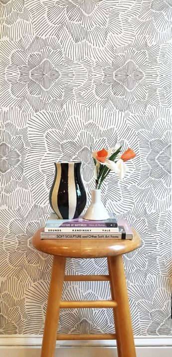Pinstripe Floral Black and White Wallpaper