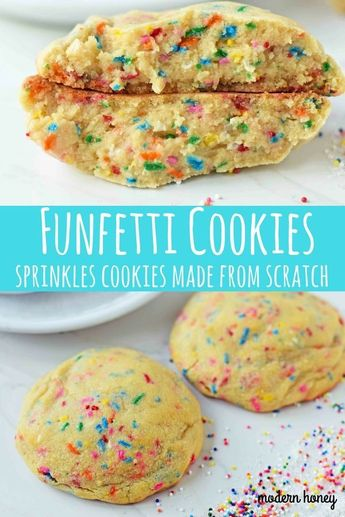 Funfetti Cookies are soft chewy vanilla sugar cookies with rainbow sprinkles. Sprinkles cookies are perfect for birthday parties, graduation, or any celebration. The perfect funfetti cookie made from scratch. www.modernhoney.com #cookies #cookie #funfetticookies #sprinkles #sprinklescookies #birthdaycookies