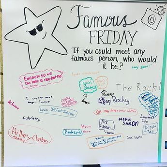 ⭐️✨ Famous Friday in 5F! #heytherealliteration #iteachfifth #iteach5th #teachersofinstagram #teachersfollowteachers #miss5thswhiteboard