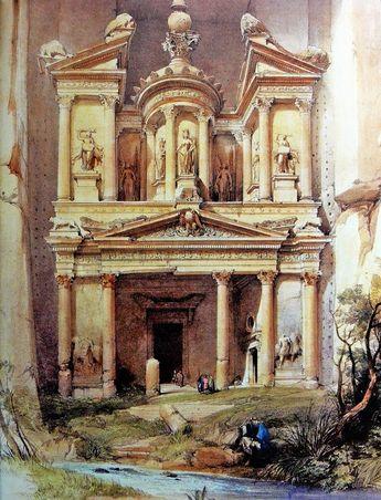 David Roberts - 1839 - Treasury-lithograph. Petra. David Roberts, un excelente paisajista que había visitado la ciudad en 1839, dentro de uno de sus viajes que le llevaron por Egipto, la Península del Sinaí, Jerusalén, Palestina, las costas del...