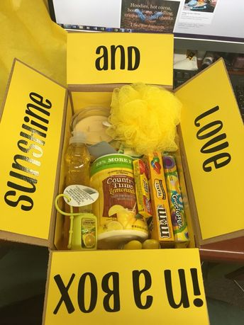 Sunshine in a box. Yellow care package