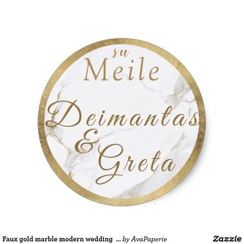 Faux gold marble modern wedding love monogram classic round sticker | Zazzle.com