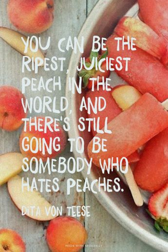 You can be the ripest, juiciest, peach in the world, and there's still going to be somebody who hates peaches.