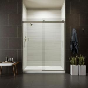 DreamLine Enigma-X 56 to 60 in. x 76 in. Frameless Sliding Shower Door in Brushed Stainless Steel