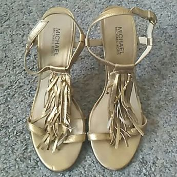 6c52bacf12a Michael Kors Gold Fringe Heel Sandals Gorgeous Michael Kors sandals. Shows  signs of wear but