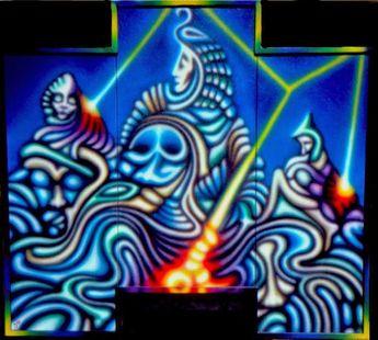 RUNA kunst:  Das dreifache Feuer / Air-Brush Acryl auf Leinwan...