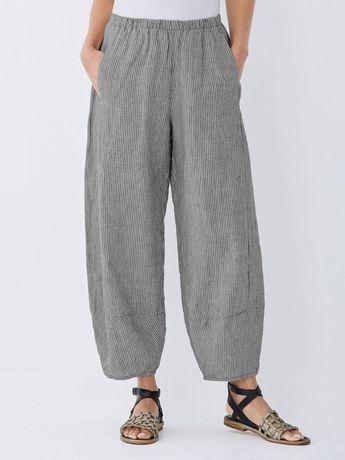 Women Capri Pant Cotton Pockets Striped
