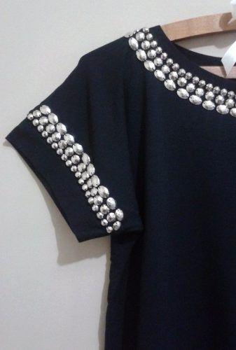blusa preta de viscolaycra bordada com chatons