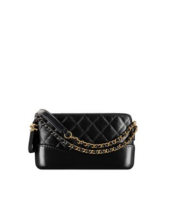 3449ad552 Clutch with chain, aged calfskin, smooth calfskin, silver-tone & gold-
