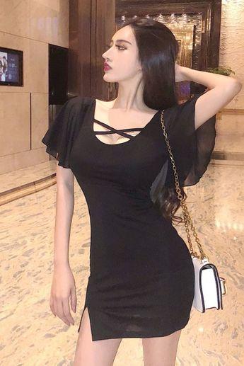 $37.70 - Black Bodycon Mini Dress With Thigh Split