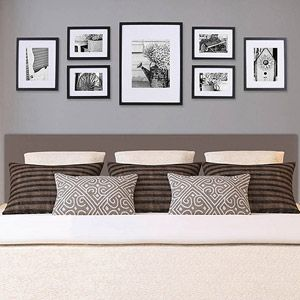 """Online $49.96 Pinnacle Gallery Perfect 7-Piece Frame Kit. Walnut color. Four 6"""" x 8"""" frames matted to 4"""" x 6"""" Two 8"""" x 10"""" frames matted to 5"""" x 7"""" One 12"""" x 16"""" frame with 8"""" x 12"""" or 8"""" x 10"""" mat options. Place over Bed"""