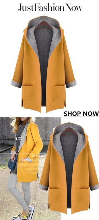 Fall fashion ideas,winter is coming.  Casual Pockets H-line Long Sleeve Plain Coat, $19.84. Find more @justfashionnow #coat#fall fashion#fall coat#fashion#women's clothing#women clothing#clothing#trend fashion#fall#autumn#coat