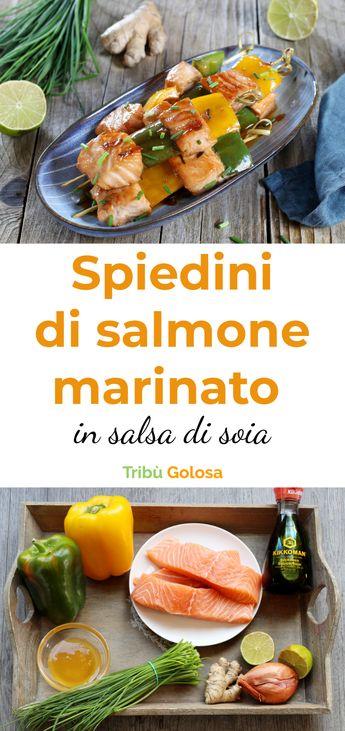 Spiedini di salmone marinato in salsa di soia