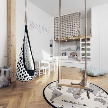 Multiple swings in a kids bed room add a nice playful style and outdoor feel. This is so bohemian