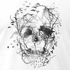 Crow Birds Tree Skull Men's Jersey T-Shirt - white