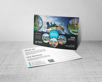 Creative Travel Postcard Design Template - Graphic Templates