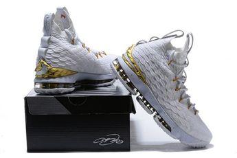38b1afdb9c4a69 Nike LeBron 15 XV EP Men s Basketball Shoes White Gold  SIM002901