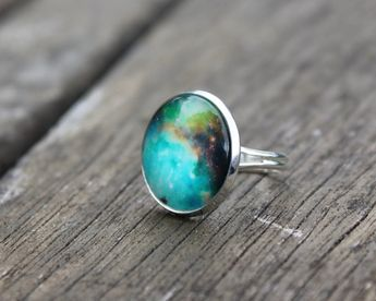 Galaxy Nebula Orions Belt Ring La Luna - Glass Dome Galaxy space Ring