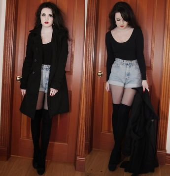 Sirens Trench Coat, American Apparel Bodysuit, Thrifted High Waist Shorts, Secret Tights, Ardne Knee Socks, Aldo Suede Heels