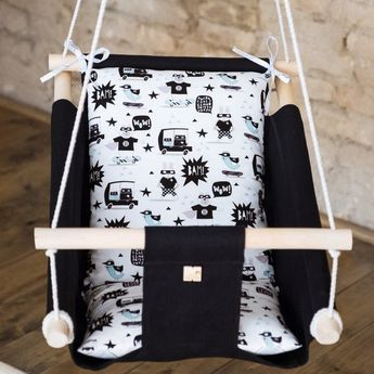 Baby linen indoor swing SUPERHERO, hanging cradle, hammock for toddlers and kids, 1st birthday gift, boho Nursery Decor, hanging chair