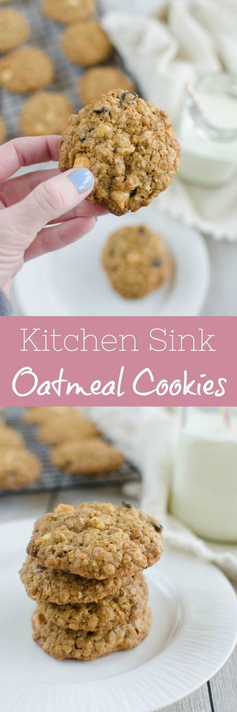 Kitchen Sink Oatmeal Cookies - oatmeal cookies filled with everything but the kitchen sink! Chocolate chunks, white chocolate chips, cinnamon chips, walnuts, raisins, and coconut!