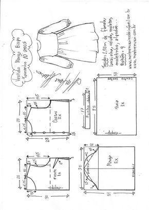 2a4ab384e1 Vestido manga bispo simples - DIY- marlene mukai - molde infantil