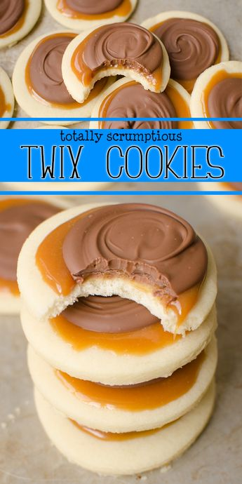Twix Cookies are a soft sugar cookie crust, with a creamy caramel on top which is topped with milk chocolate. This delicious cookie explodes with Twix flavor and are super fun to make! Skip the candy bar and make your own! |Cooking with Karli| #twix #cookie #cookiecup #candybar #candybarcookie #copycat #caramel #recipe