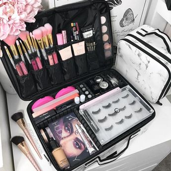 Marble Print Portable Large Travel Oxford Soft Makeup Bag with Mirror #topmakeupaccessories