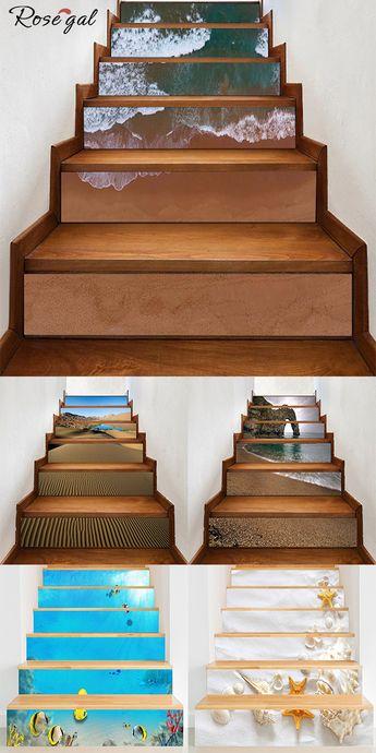 Adhésif escalier motif de la mer et de la plage Stickers escalier contremarche #Rosegal #adhesifdeco #stickersescalier #maison