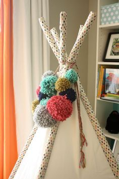 Large Multi Colored Pom Pom Teepee Topper on Braided Rope