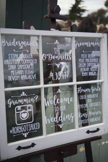 Wedding Mirror DECALS | Antique Wedding Window Decal | Welcome Sign | Wedding Program | Seating Chart | Wedding Hashtag | Menu | Itinerary