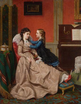 """Jan Frederik Pieter Portielje (Amsterdam, Holanda, 29 de Abril de 1829 – Antuérpia, Bélgica, 6 de fevereiro de 1908) -""""Mothers_Darling""""_1870"""