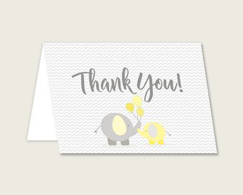 Thank You Card Baby Shower Thank You Card Yellow Baby Shower Thank You Card Baby Shower Elephant Thank You Card Yellow Gray prints W6ZPZ