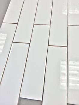 """Clearance Metro Subway Tile - Bright White 2"""" x 8"""" Ceramic Wall Tile $2.65 Per Square Foot (9 Pieces Per Square Foot)"""