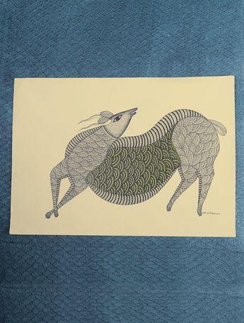 Deer Gond Painting by Manoj Tekam