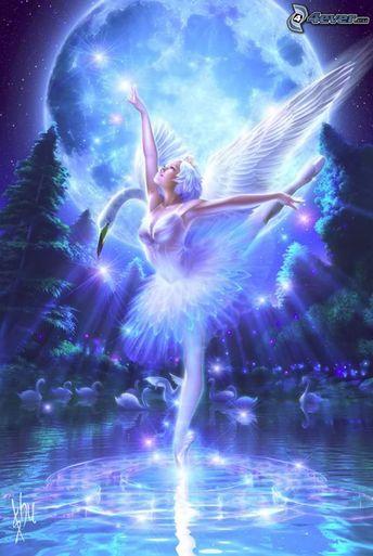 Water Fairies | fairy, angel, wings, ballet, moon, water, swan