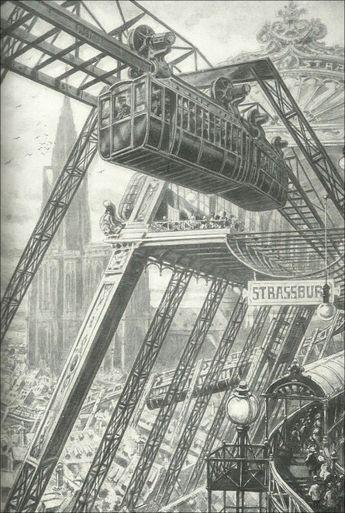 """Lanos Henri """"Illustrateur du Merveilleux Scientifique"""" - sur l'autre face du monde - « Le chemin de fer de l'avenir, aérien et monorail » Suspendus à des rails aériens, les trains de voyageurs se précipiteront , sans obstacles, à ds vitesses inouïes. Revue « Je sais tout » N°2 du 15 Mars 1905."""