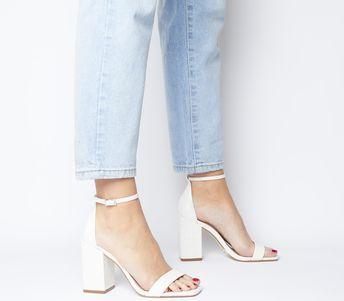 Office Heroic Block Heel Sandals White Croc Leather - High Heels