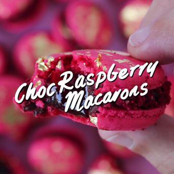 Choc Raspberry Macarons